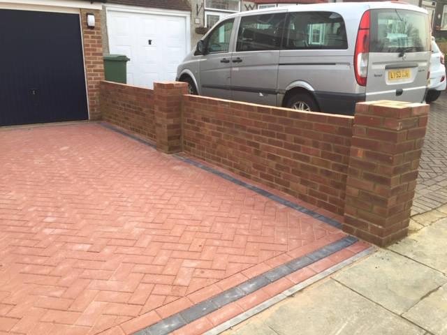 Block Paved Driveway and Brickwork Wall